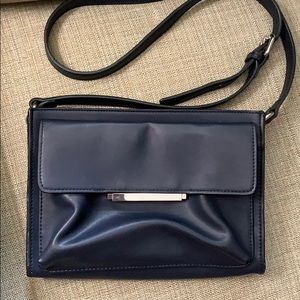 French Connection Navy Blue Leather Cross Body Bag